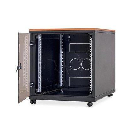 """Triton Szafka rack 19"""" z blatem, na kółkach BXAT15-0031-06 (12U, 600x800mm, przeszklone drzwi, obciążalność 200kg, kolor czarny RAL9005)"""
