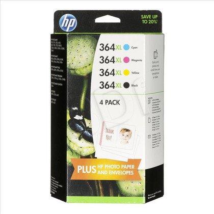 HP Tusz HP364XL=J3M83AE, Zestaw CMYBk, CB323EE+CB324EE+CB325EE+CN684EE+papier Photo 13x18cm 10ark.+koperty 5szt. zastąpił SD534EE