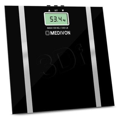 MEDIVON WAGA LAZIENKOWA, HARTOWANE SZKŁO, POMIAR BMI, AUTOMATYCZNE WYŁĄCZNIE I-10