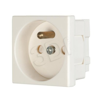 ALANTEC Gniazdo elektryczne 45x45, białe - 2P+Z