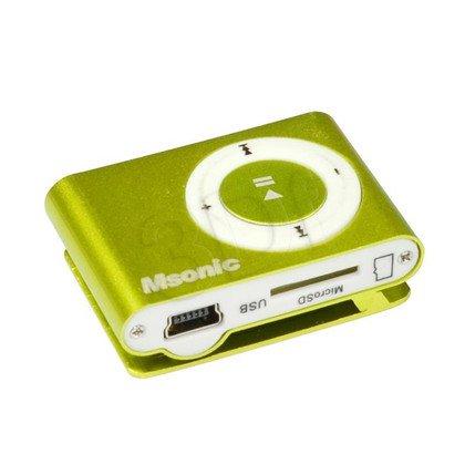 MSONIC ODTWARZACZ MP3 Z CZYTNIKIEM KART, SŁUCHAWKI, KABEL MINIUSB, ALUMINIUM MM3610Y ŻÓŁTY