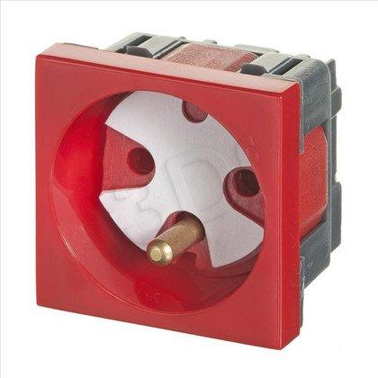 ALANTEC Gniazdo elektryczne 45x45 z kluczem, czer- 2P+Z