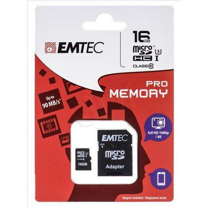 Emtec micro SDHC ECMSDM16GHC10PR 16GB Class 10,UHS Class U3 +ADAPTER microSD-SD