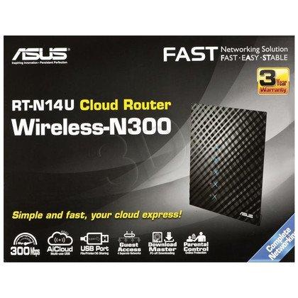 Asus RT-N14U - Router z bezprzewodowym modułem N300 Mbps (działający w chmurze)