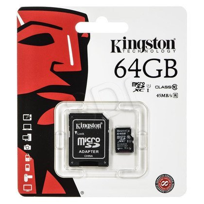 Kingston micro SDXC SDC10G2/64GB 64GB Class 10 + ADAPTER microSD-SD
