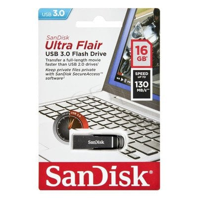 Sandisk Flashdrive ULTRA FLAIR 16GB USB 3.0 srebrno-czarny