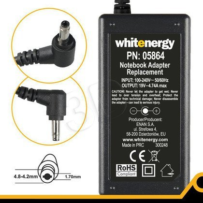 WHITENERGY ZASILACZ 19V/4.74A wtyk 4.8-4.2x1.7 mm