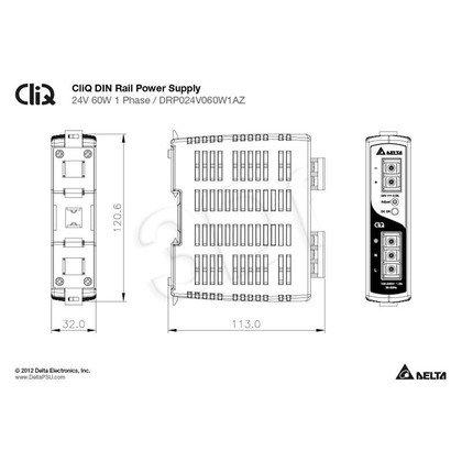 Zasilacz przemysłowy do montażu na szynie DIN DELTA DRP024V060W1AZ (24V 60W)