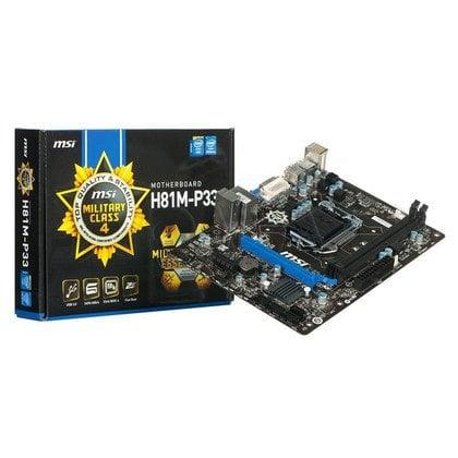 MSI H81M-P33 H81 LGA1150 (PCX/DZW/VGA/GLAN/SATA3/USB3/DDR3) mATX