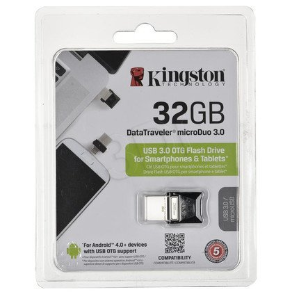 Kingston Flashdrive DataTraveler microDuo 3.0 32GB USB 3.0 Czarny