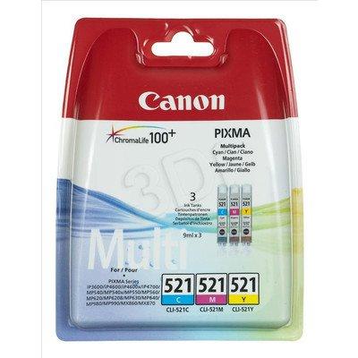 CANON Tusz CLI-521C/M/Y=CLI521 CMY=2934B010, Zestaw CMY, CLI521C+CLI521M+CLI521Y