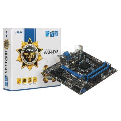 MSI B85M-E45 Intel B85 LGA 1150 (PCX/VGA/DZW/GLAN/SATA3/USB3/DDR3) mATX