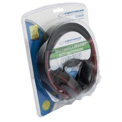 Słuchawki nauszne z mikrofonem Esperanza CONDOR EH156R (Czarno-czerwone)