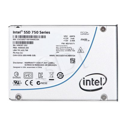 "Dysk SSD Intel 750 2,5"" 400GB PCI EXPRESS NVMe SSDPE2MW400G4X1"