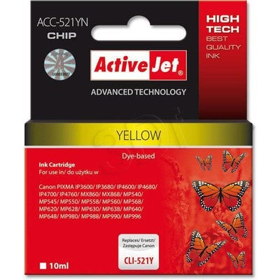 ActiveJet ACC-521Y (ACC-521YN) tusz yellow do drukarki Canon (zam. CLI-521Y) (CHIP)