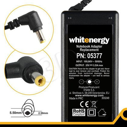 WHITENERGY ZASILACZ 20V/3.25A WTYK 5.5x2.5mm
