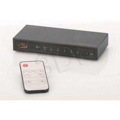 DIGITUS PRZEŁĄCZNIK/SWITCH HDMI 4K UHD 3D, HDCP, 5-PORTOWY, Z PILOTEM DS-49304