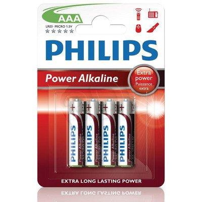 Bateria PHILIPS LR03P4B/10 AAA POWER ALAKLINE 4 szt. ( Technologia alkaliczna idealna do urządzeń o dużym poborze energii: zabawki, odtwrzacze przenoś