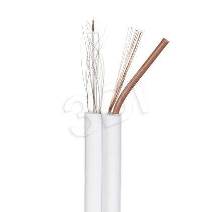 Madex kabel koncentryczny PVC RG59 + 2x0,5 mm 100m CCTV biały - 100% miedziany