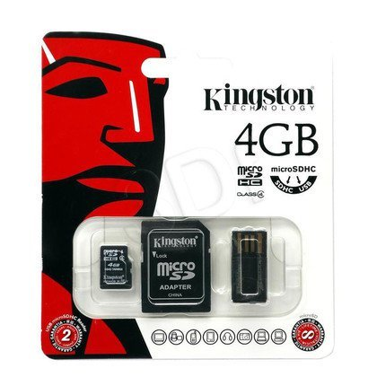 Kingston micro SDHC MBLY4G2/4GB 4GB Class 4 + ADAPTER microSD-SD, microSD-USB