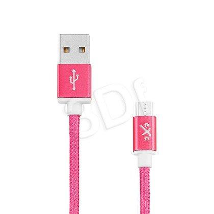 EXC UNIWERSALNY KABEL USB-MICRO USB, GLOSSY, 1.5 METRA, AMARANTOWY