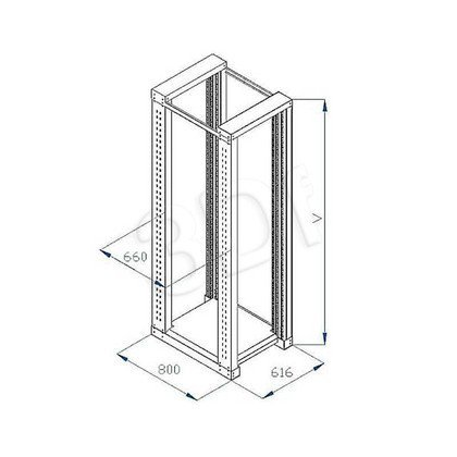 """Triton rama podwójna rack 2x19"""" RSX-27-XD8 (27U, głębokość 800mm)"""