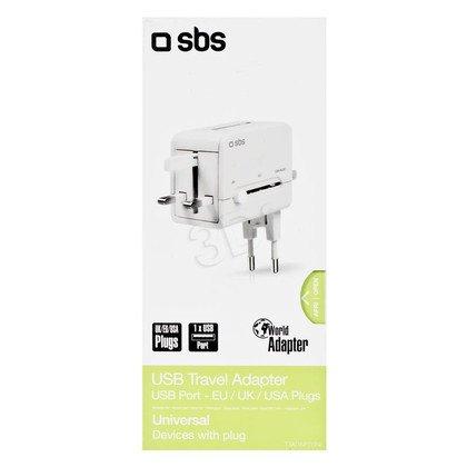 SBS Ładowarka podrózna USB 1A US, UK, EU, AU