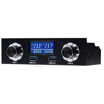"""AKYGA PANEL LCD 5.25"""" STEROWANIE DWOMA WENTYLATORAMI + POMIAR TEMP. + 2X USB3.0 AK-CA-24"""