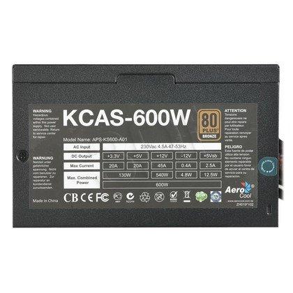 ZASILACZ AEROCOOL KCAS-600 (600W) 80+ BRONZE