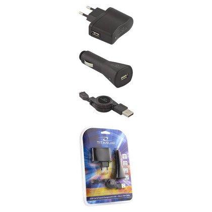 TITANUM ZESTAW ŁADOWAREK (AC/DC/USB/MicroUSB) 0,8A