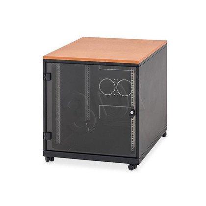 """TRITON SZAFA STOJĄCA Z BLATEM 19"""" 12U 600X800(WYP) drzwi szklane, obciążalność 200kg, kolor czarny. Rysa na blacie oraz na froncie szafy. Produ"""