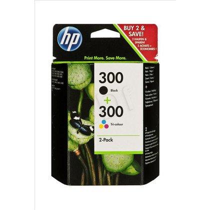 HP Tusz HP300+HP300=CN637EE, Zestaw Bk+Kolor, CC640EE+CC643EE