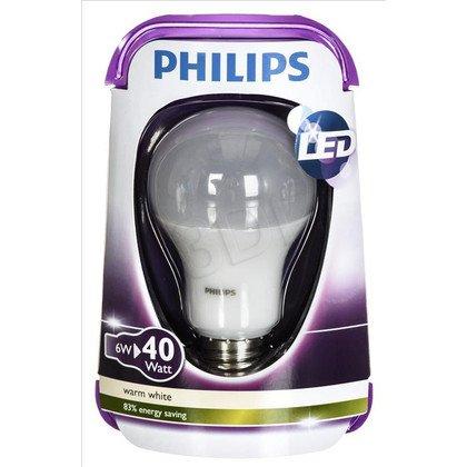 Philips żarówka LED 8718696490884 (tradycyjna żarówka 470lm 6W E27 ciepła biel)