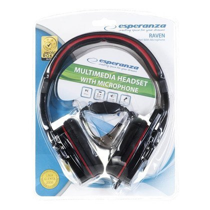 Słuchawki nauszne z mikrofonem Esperanza RAVEN (Czarno-czerwony)