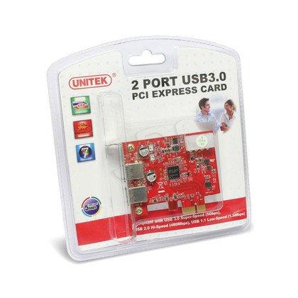 KONTROLER UNITEK Y-7301 PCI-E 2X USB3.0