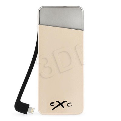 EXC POWERBANK 5500 mAh, USB (2.1A) + WBUDOWANY KABEL 8PIN (1.0A, LIGHTNING), AMAZING, ZŁOTY