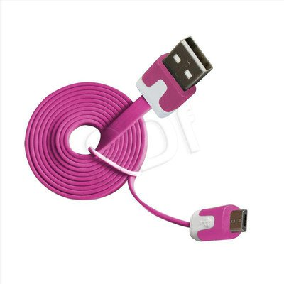 MSONIC KABEL MICRO USB 2.0 A-B M/M 1M, PŁASKI DESIGN, MLU527NP RÓŻOWY