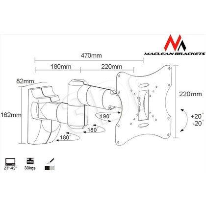 MACLEAN UCHWYT DO MONITORA 23-42'' 30 KG UNIWERSALNY MC-503 S MAX VESA 200 SREBRNY
