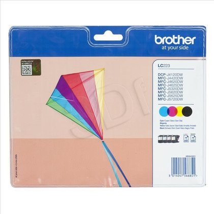 BROTHER Tusz LC223VALBP=LC-223VALBP, Zestaw CMYBk, LC223C+LC223M+LC223Y+LC223BK