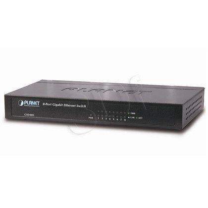 PLANET /Niezarządzalny/ (GSD-805) - 8 x 10/100/1000Base-T 16Gbit, 4K, 1Mbit