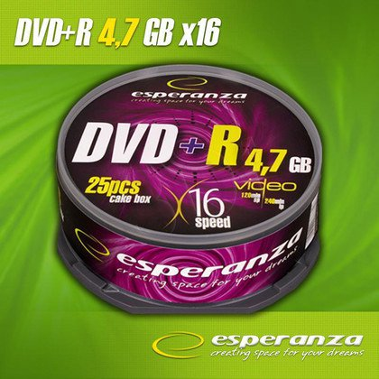 DVD+R Esperanza 4.7GB 16xSpeed (Cake 25szt)