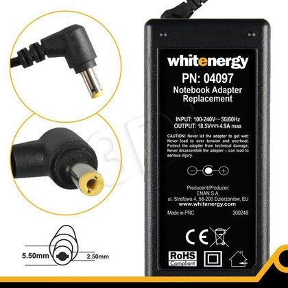 WHITENERGY ZASILACZ 18.5V/4.9A wtyk 5.5x2.5 mm (04097)