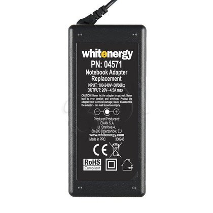 WHITENERGY ZASILACZ DO LAPTOPA LENOVO 20V 4.5A WTYK 7.9X5.5 +PIN