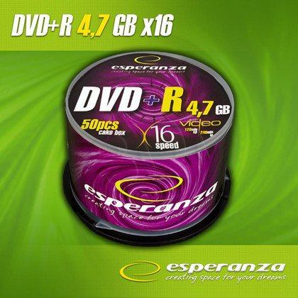 DVD+R Esperanza 4.7GB 16xSpeed (Cake 50szt)