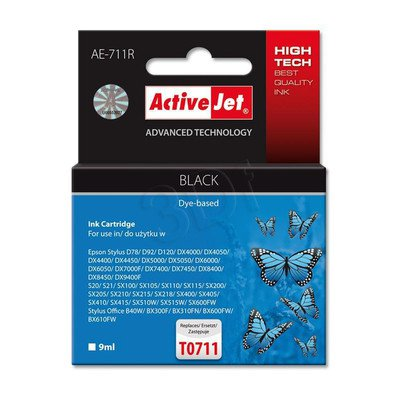 ActiveJet AE-711R tusz czarny do drukarki Epson (zamiennik Epson T0711) Premium