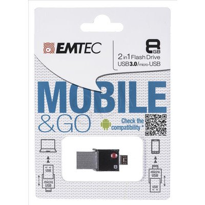 Emtec Flashdrive MOBILEGO OTG T200 8GB USB 3.0 Czarny
