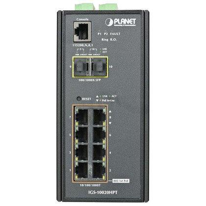 PLANET IGS-10020HPT Switch przem. 8xGEth PoE 2xSFP
