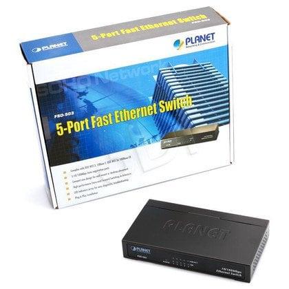PLANET / Niezarządzalny / (FSD-503) - 5 x 10/100Mbps - 1Gbps, 2K, 1Mbit