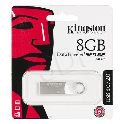 Kingston Flashdrive DataTraveler SE9 G2 8GB USB 3.0 Srebrny
