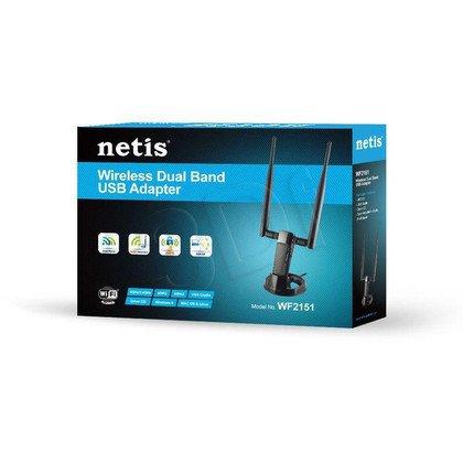 NETIS BEZPRZEWODOWA KARTA SIECIOWA USB DUAL BAND N 600 MBIT/S 2 ODCZEPIANE ANTENY 5DBI WF2151